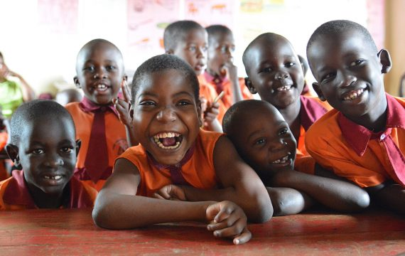 Sure Prospects Primary school is an inclusive school. It is a partner school with CoRSU hospital, CBM's partner in Entebbe district in Uganda. Please refer to respective report.  Here Shamilla a 12 year old girl with other pupils in the classroom. Shamilla has cerebral palsy and associates well with other children in this school.